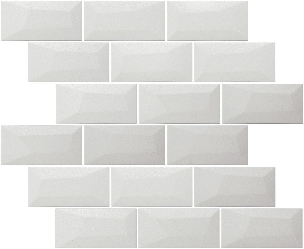 Libra White Brick Mosaic Tiles Sheet 30cm X 30cm