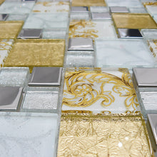 Mosaic Tiles Sheet Diamond Clear Glass & Silver 30cm X 30cm (mos002)