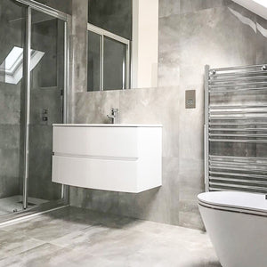 Marble Grey Polished Stone Effect Italian Porcelain Wall & Floor Tiles 60cm X 60cm