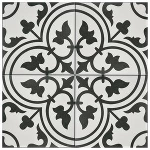 Artea White & Black Decor Porcelain Wall & Floor Tiles 20x20