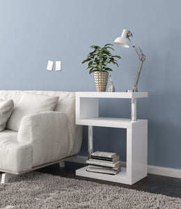 Geno Square Gloss White Shelving Unit / Side Table