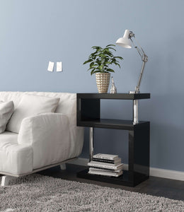 Geno Square Gloss Black Shelving Unit / Side Table