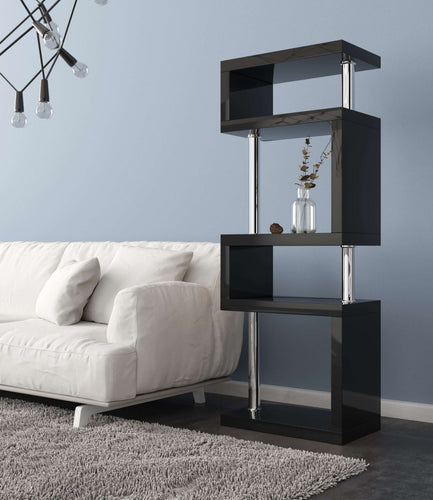 Elegance Tall Gloss Black Shelving Unit