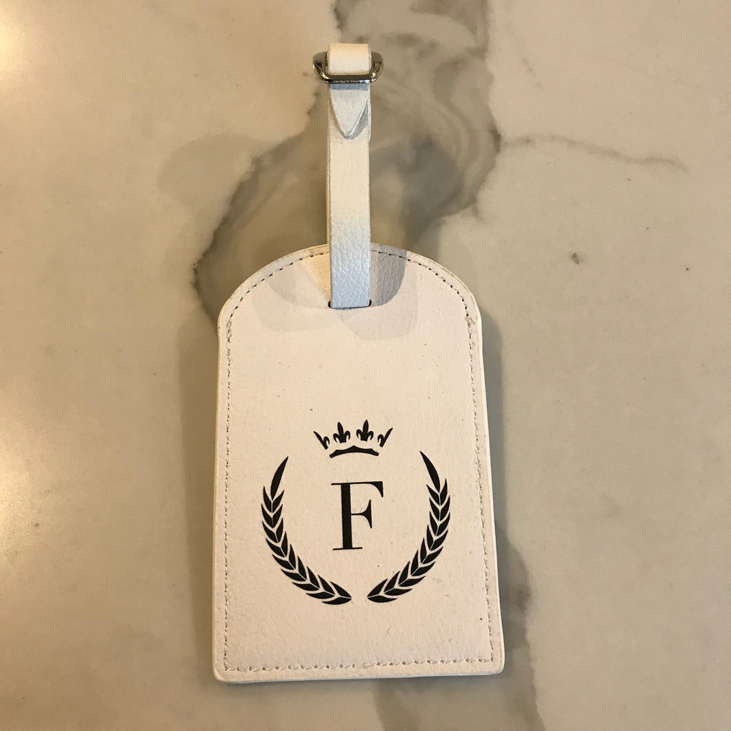 TRAVEL TAG - WHITE F CROWN