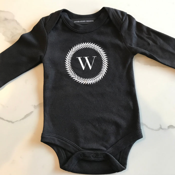 BABY BODYSUIT - BLACK W WREATH
