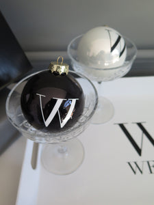 MONOCHROME INITIAL GLASS CHRISTMAS BAUBLE