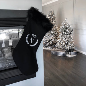 INITIAL CHRISTMAS STOCKING SUPER LUXE FUR - BLACK FUR