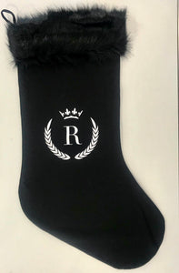 INITIAL CHRISTMAS STOCKING - SUPER LUXE FUR - BLACK R CROWN - EX PROP