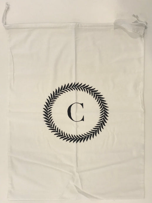 INITIAL CHRISTMAS SACK - WHITE C WREATH - SECOND