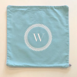 INITIAL CUSHION COVER - BLUE W WREATH - EX PROP