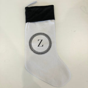 INITIAL CHRISTMAS STOCKING - STANDARD - WHITE Z WREATH - SECOND