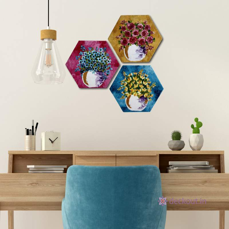 Hexagonal Impasto Set-Painting-deckout.in