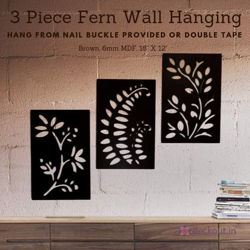 3 Piece Fern Wall Hanging - deckout.in