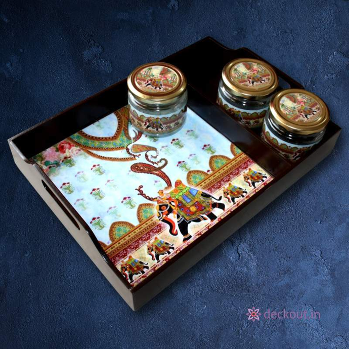 Elephant Divided Tray & Jars-deckout.in
