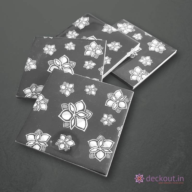 Black Bloom Coasters - Set of 4-deckout.in