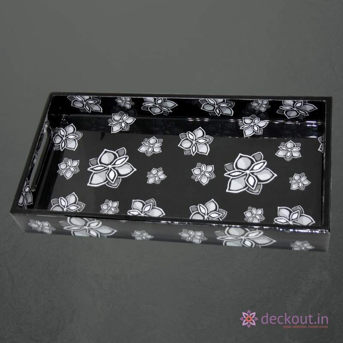 Black Bloom Narrow Tray - deckout.in