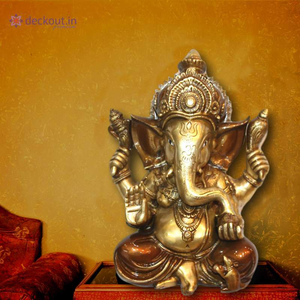 Brown Brass Ganesha - deckout.in