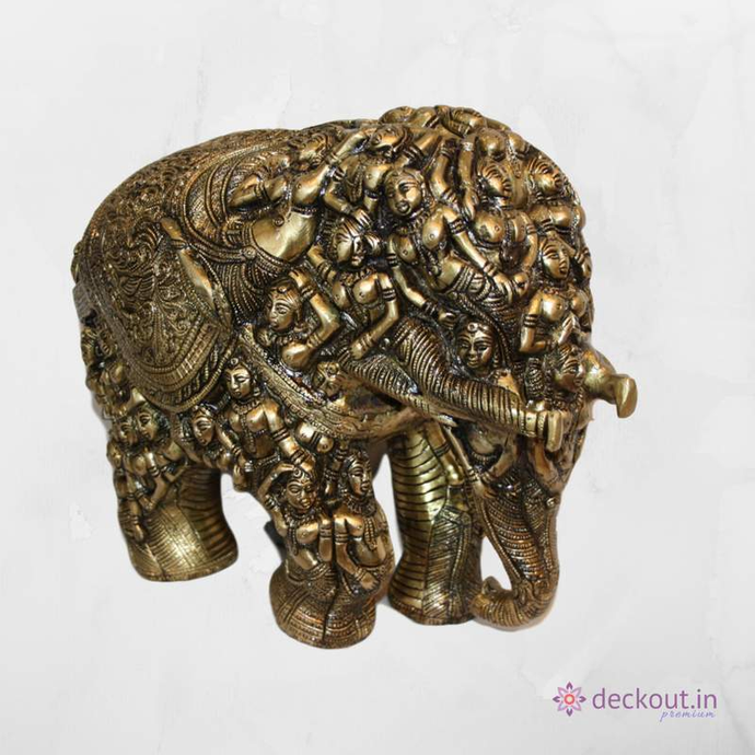 Carved Brass Elephant-deckout.in