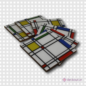 Check Pattern Coasters - Set of 6 - deckout.in