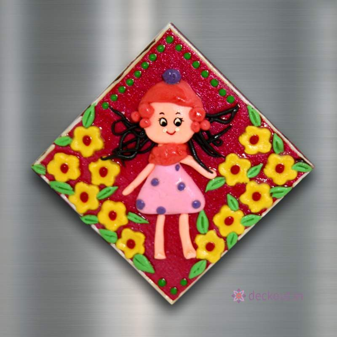 Doll Flowers - Fridge Magnet-Fridge Magnet-deckout.in