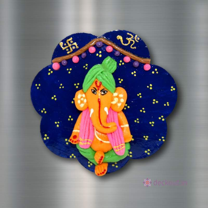 Ganpati Blue - Fridge Magnet-Fridge Magnet-deckout.in