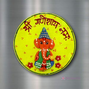 Ganesha Yellow - Fridge Magnet-Fridge Magnet-deckout.in