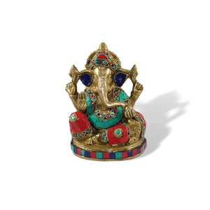 Stone Studded Brass Ganesha - deckout.in