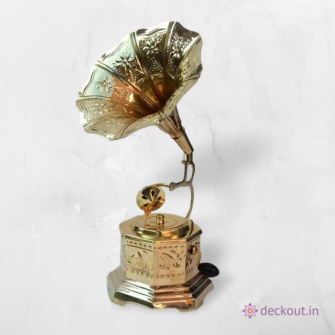 Brass Gramophone Miniature-deckout.in