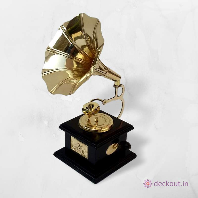 Brass Gramophone Miniature - Wood Stand - deckout.in