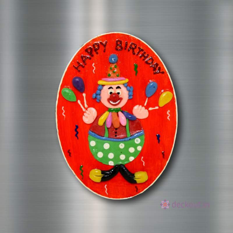 Happy Birthday (Orange) - Fridge Magnet-deckout.in