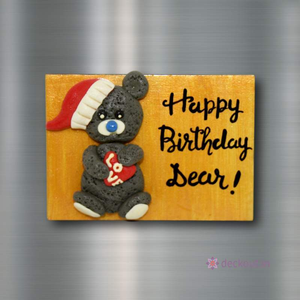 Birthday Teddy - Fridge Magnet-Fridge Magnet-deckout.in