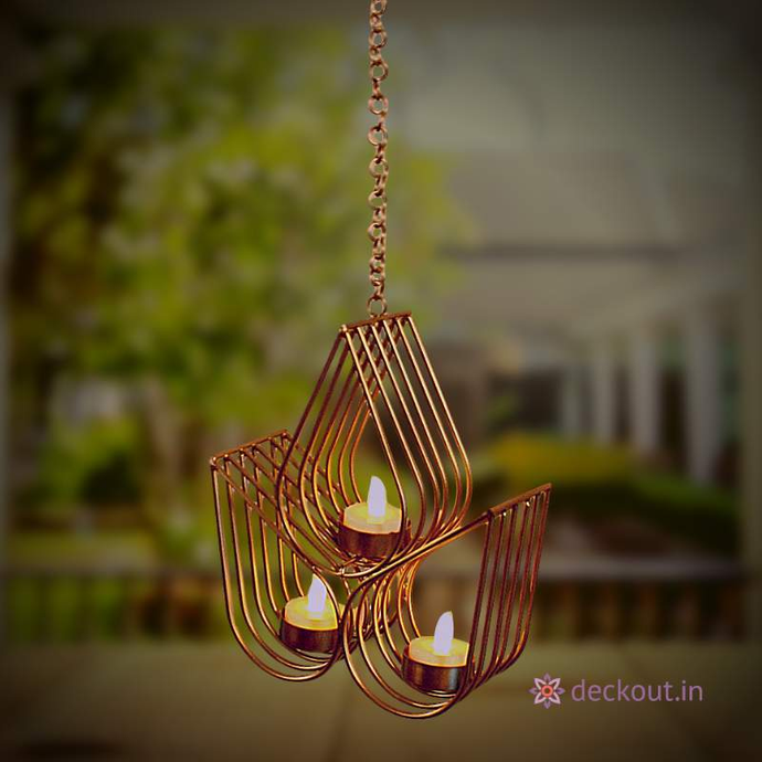 Hanging 3 Leaf T Light Lamp-deckout.in