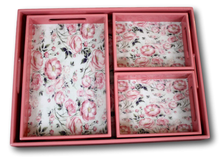 Pink Flowers Trays - Set of 4-deckout.in