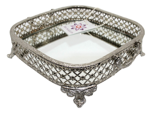 Silver Finish Metal Tray - deckout.in