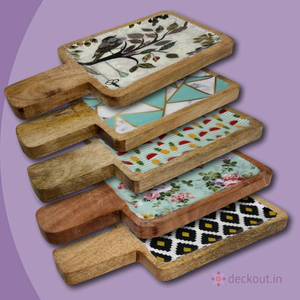 Mango Wood Laminated Rectangular Platters-deckout.in