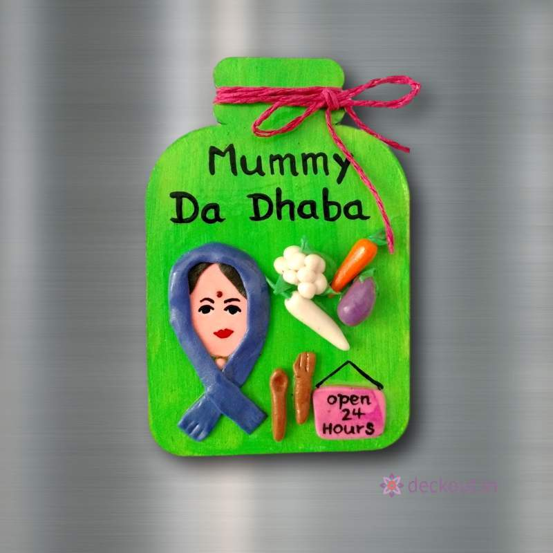 Mummy Da Dhaba - Fridge Magnet-Fridge Magnet-deckout.in