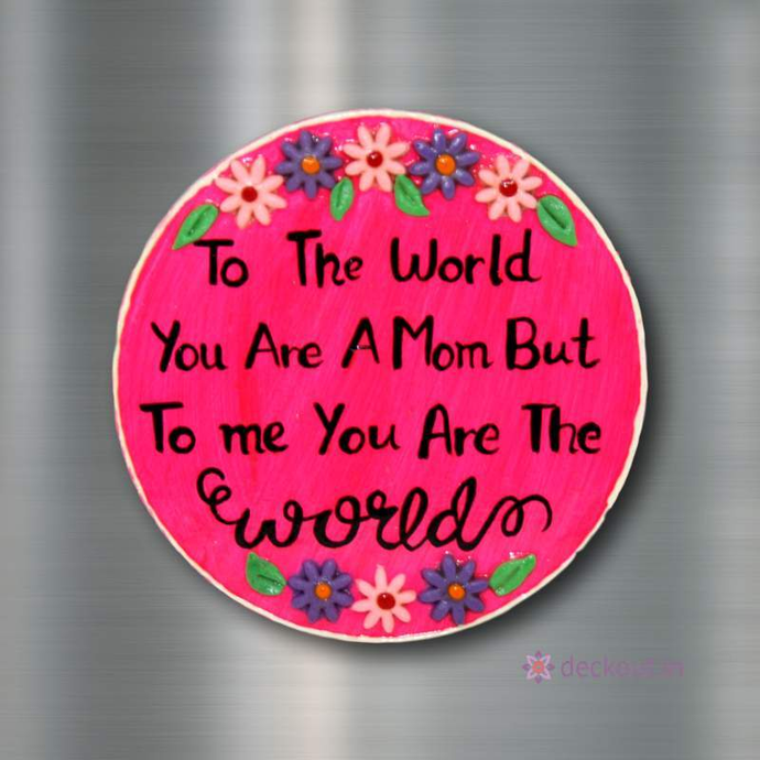 Mom World - Fridge Magnet-Fridge Magnet-deckout.in