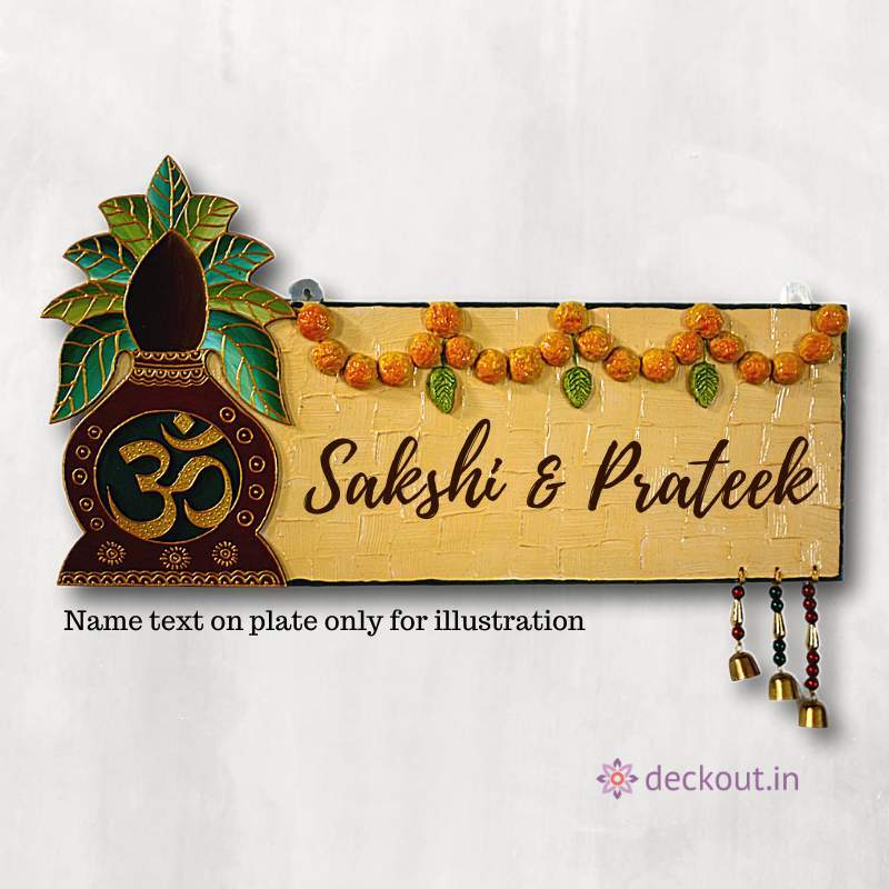 Om Kalash Name Plate-Name Plate-deckout.in