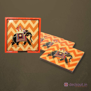 Orange Elephant Coasters - Set of 4 - deckout.in