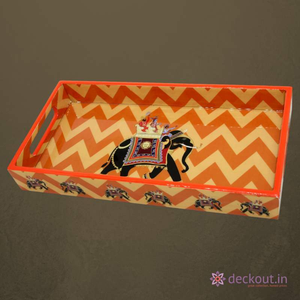 Orange Elephant Narrow Tray - deckout.in
