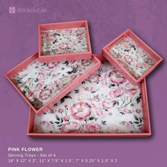 Pink Flowers Trays - Set of 4