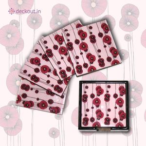 Pink Poppy Coasters - Set of 4 - deckout.in