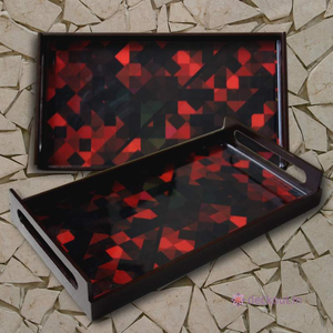 Red & Black Mosaic Serving Tray-deckout.in
