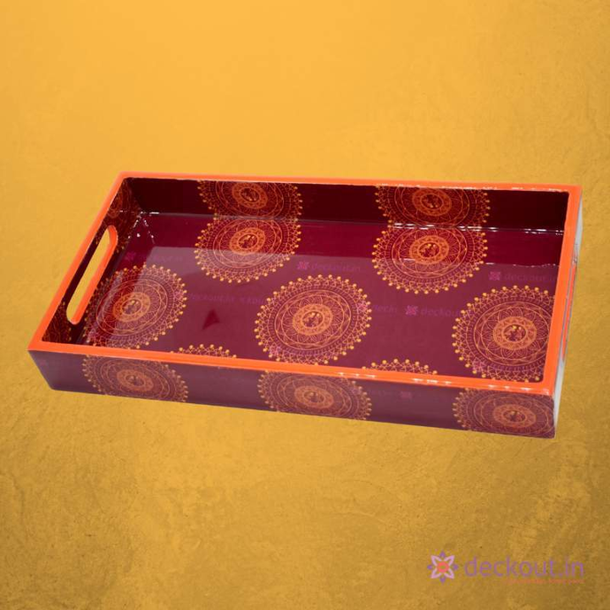 Red Mandala Narrow Tray - deckout.in