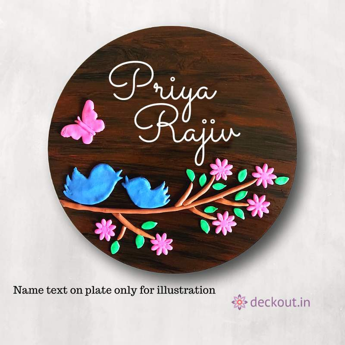 Bird & Branches - Circular Name Plate-Name Plate-deckout.in