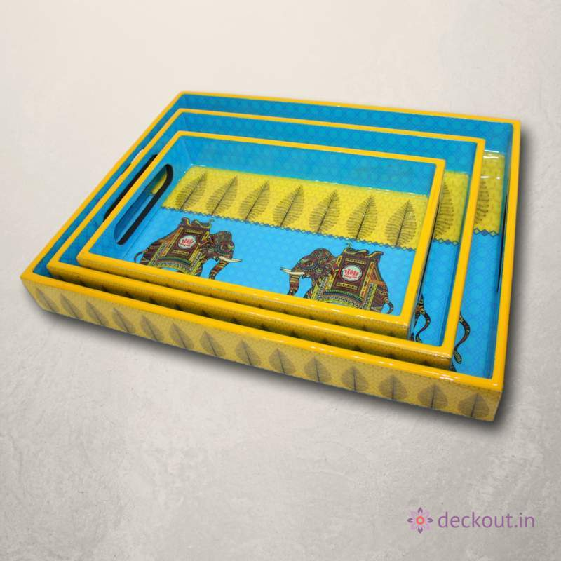 Royal Elephant Snack Tray - Set of 3-deckout.in