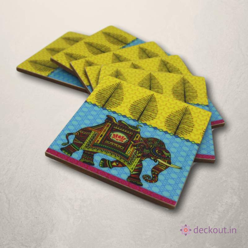 Royal Elephant Coasters - Set of 6-deckout.in