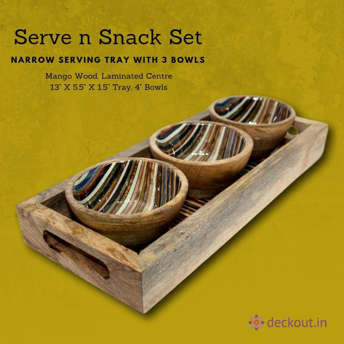 Serve N Snack Set - Stripes Pattern - deckout.in