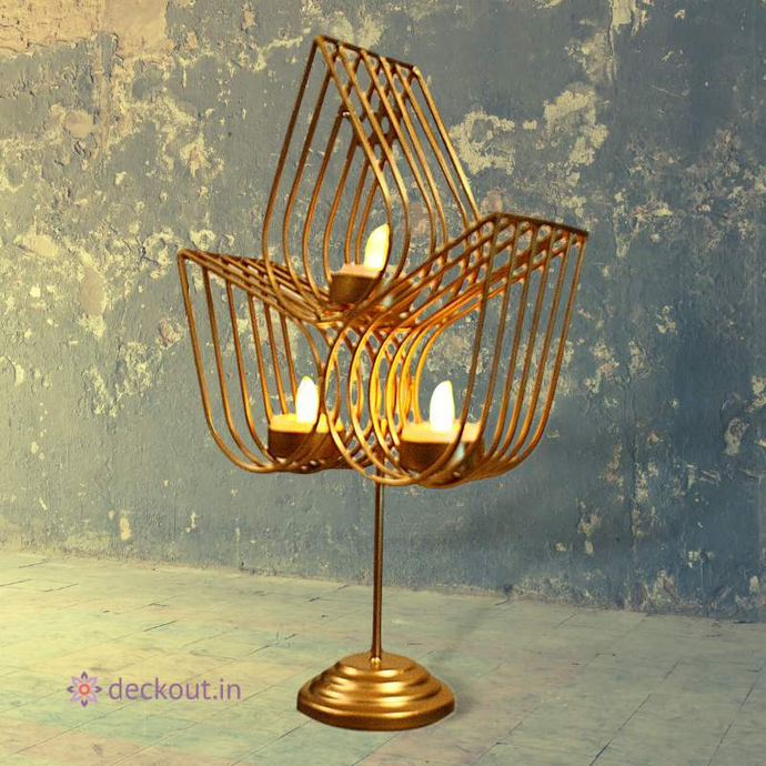 Standing 3 Leaf T Light Lamp-deckout.in