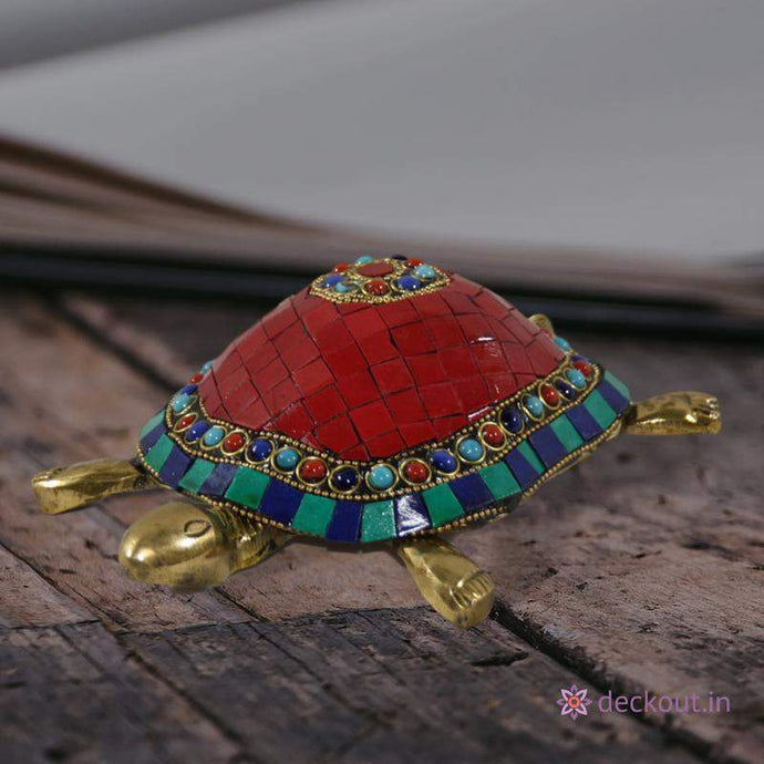 Stone Studded Brass Turtle-deckout.in